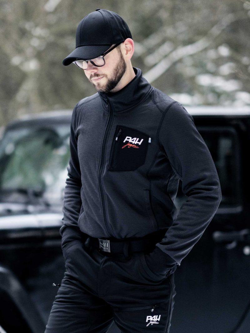 P4H Powerfleece Jacket Black Comb, Herr